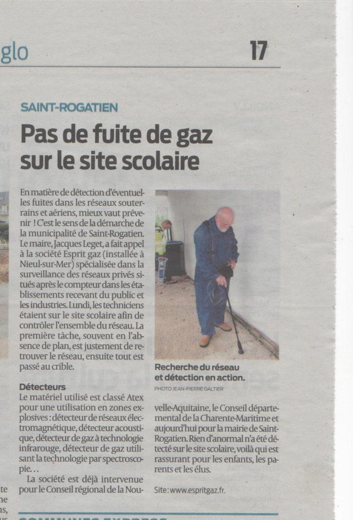 Article Sud-ouest - Recherche de réseau Gaz enterré à La rochelle
