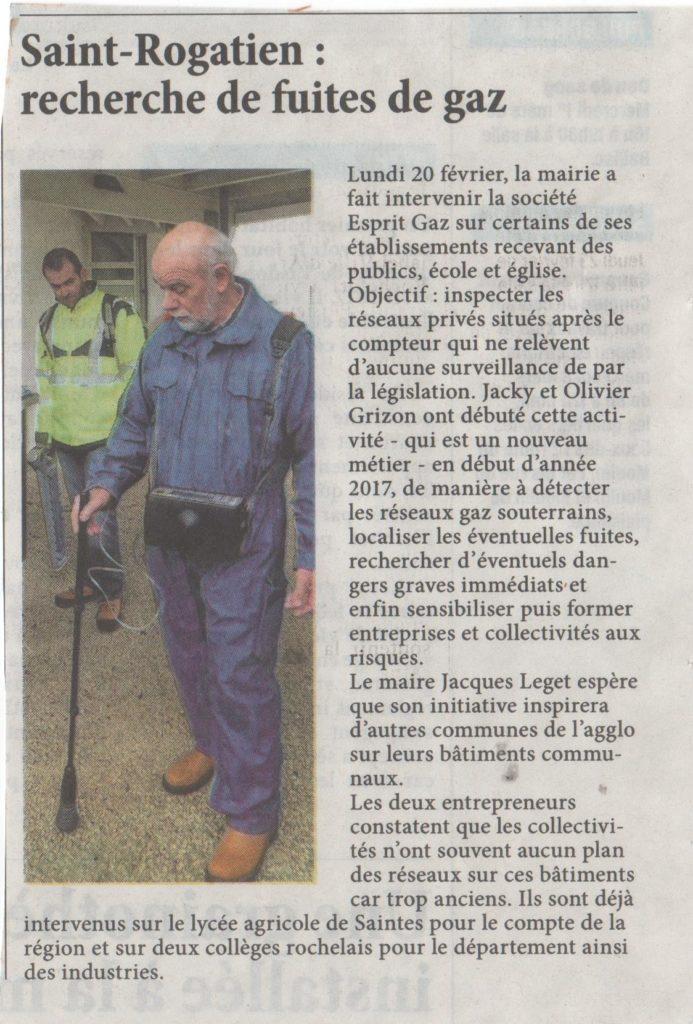 Article L'Hebdo recherche de fuite Gaz La Rochelle